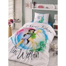 Lenjerie de pat, copii, 1 persoana, Disney Fairies, bumbac 100%, 3 piese, multicolor