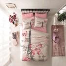 Lenjerie de pat, 2 persoane, Ranforce Giselle TRK, bumbac 100%, 4 piese, alb + roz