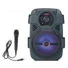 Boxa portabila activa Akai ABTS-808L, 10 W, Bluetooth, USB, Aux in, radio FM, digital karaoke, negru, microfon