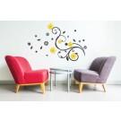 Sticker decorativ perete, camera de zi, Flori, PT2316, 70 x 110 cm