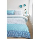 Lenjerie de pat, 2 persoane, Doris blue, bumbac 100%, 4 piese, alb + albastru