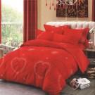Lenjerie de pat, 2 persoane, Alma, microfibra 100%, 4 piese, rosu + alb