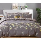 Lenjerie de pat, 2 persoane, bumbac 100%, satinat, 4 piese, maro + galben + verde