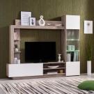 Biblioteca living Toto, cu lumini, stejar gri + alb, 204 cm, 3C