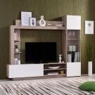 Biblioteca living Toto, stejar gri + alb, 204 cm, 2C