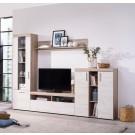 Biblioteca living Arno, stejar gri + stejar alb, 262 cm, 3C