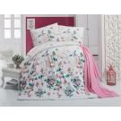 Lenjerie de pat, 2 persoane, Latte Carmella, policoton, 4 piese, alb + roz + turcoaz