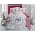 Lenjerie de pat, 2 persoane, Latte Nerine, policoton, 4 piese, alb + roz + turcoaz