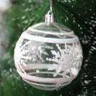 Globuri Craciun, transparent + alb, diametru 8 cm, set 6 bucati, SY18CD-032