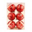 Globuri Craciun, rosu + alb, diametru 8 cm, set 6 bucati, SY18CD-043