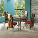 Set masa fixa cu 4 scaune tapitate Luna, bucatarie, print frunza, 4C