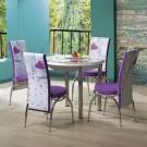 Set masa fixa cu 4 scaune tapitate Luna, bucatarie, print liliac, 4C