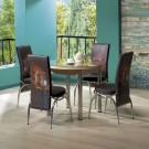 Set masa fixa cu 4 scaune tapitate Luna, bucatarie, print cafea, 4C