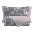 Lenjerie de pat, 2 persoane, Emily Grey, bumbac 100%, 4 piese, gri + roz