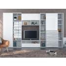Biblioteca living Dafne, A480 + alb lucios, 359 cm, 7C
