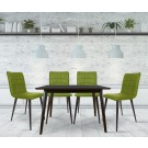 Set masa fixa cu 4 scaune tapitate Sion, bucatarie, verde, 3C