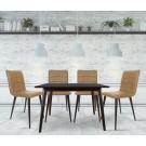 Set masa fixa cu 4 scaune tapitate Sion, bucatarie, crem, 3C