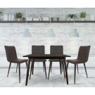 Set masa fixa cu 4 scaune tapitate Sion, bucatarie, maro, 3C