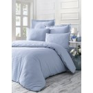 Lenjerie de pat, 2 persoane, Line, bumbac 100%, satinat, 4 piese, albastru