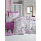 Lenjerie de pat, 2 persoane, Love, bumbac 100%, 4 piese, alb + lila