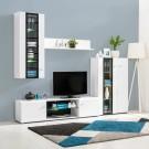 Biblioteca living Rex, alb + alb lucios + negru, cu lumini, 250.5 cm, 4C