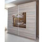 Dulap dormitor Onix L235, ulm inchis, 2 usi, cu oglinda, 235.5 x 62 x 213 cm, 9C