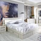 Pat dormitor Allegro, matrimonial, tapitat, cu sertare, ulm deschis, 160 x 200 cm, 5C