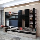 Biblioteca living Pallas Domino, ulm inchis + negru lucios, 293 cm, 14C