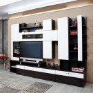 Biblioteca living Pallas Domino, wenge + crem lucios, 293 cm, 14C