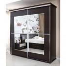 Dulap dormitor Pallas L207/H212, wenge, 2 usi glisante, cu oglinda, 207 x 62 x 212 cm, 5C
