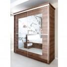 Dulap dormitor Pallas L207/H212, nuc, 2 usi, cu oglinda, 207 x 62 x 212 cm, 5C