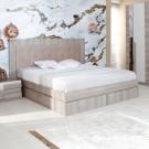 Pat dormitor Class, matrimonial, tapitat, cu sertare, ulm inchis, 140 x 200 cm, 5C