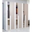 Dulap dormitor Class L202, crem + bej, 6 usi, cu oglinda, 217 x 60 x 211 cm, 7C