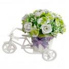 Floare artificiala BK-02, alb + verde, 20 cm