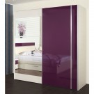Dulap dormitor Vogue L231/H212, alb + mov lucios, 2 usi, cu oglinda, 231 x 65 x 212 cm, 7C