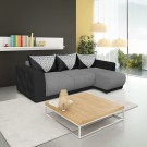 Coltar living extensibil pe stanga Bambus, cu lada, gri inchis + negru, 266 x 155 x 87 cm, 5C
