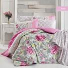 Lenjerie de pat, 2 persoane, Berin, bumbac 100%, 4 piese, roz + gri