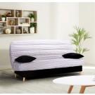 Canapea extensibila 3 locuri Click-Clack, cu lada, Scandi Triangle, alb + negru + model geometric, 190 x 90 x 98 cm, 1C