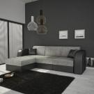 Coltar living extensibil pe stanga / dreapta Anca, cu lada, negru + gri, 235 x 159 x 78 cm, 2C