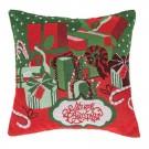Perna decorativa Gift, rosu + verde, poliester, cu model Craciun, 40 x 40 cm