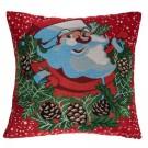 Perna decorativa Santa, rosu + verde, poliester, cu model Mos Craciun, 40 x 40 cm