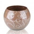 Vaza sticla decorativa, tip bol, Bella 0/BEL, maro + argintiu, 15 x 16 cm