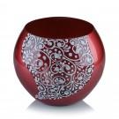 Vaza sticla decorativa, tip bol, Diana 0/16, rosu + alb, 15 x 16 cm
