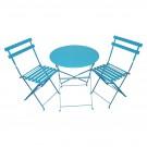 Set masa cu 2 scaune pentru gradina Bistro Roma, din metal, albastru