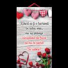 Tablou mic cu mesaj Valentine s  Day, ES9920, dreptunghiular, 25 x 14 cm