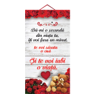 Tablou cu mesaj Valentine s Day, ES9527, dreptunghiular, 48 x 26 cm