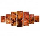 Tablou 7 piese, dualview, 7MULTICANVAS069, Artar roscat, panza + lemn de brad, 100 x 240 cm