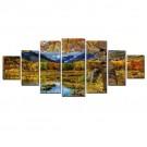 Tablou 7 piese, dualview, 7MULTICANVAS075, Peisaj de toamna, panza + lemn de brad, 100 x 240 cm