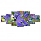 Tablou 7 piese, dualview, 7MULTICANVAS090, Abstract floral, panza + lemn de brad, 100 x 240 cm