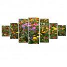 Tablou 7 piese, dualview, 7MULTICANVAS092, Camp cu flori, panza + lemn de brad, 100 x 240 cm